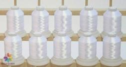 10 White Machine Embroidery Bobbin Thread Cones 1100yards fo