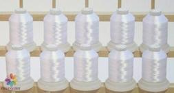 10 White Machine Embroidery Bobbin Thread Cones 1100yards fo