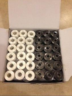 144 BLACK/WHITE Prewound Bobbins for Brother Embroidery Mach