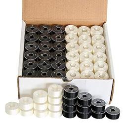 New ThreadsRus 144 Black White Pre-Wound Bobbins Backing for