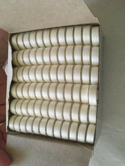144 White Pre-wound L-Style Plastic Bobbins for Embroidery M