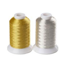 SIMTHREAD 150D/2 Metallic Embroidery Machine Thread - 2 Colo