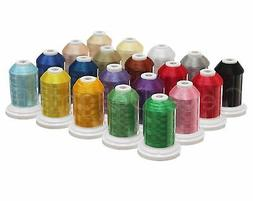 20 Color Embroidery Machine Thread Set - Jumbo 1100 Yd Spool