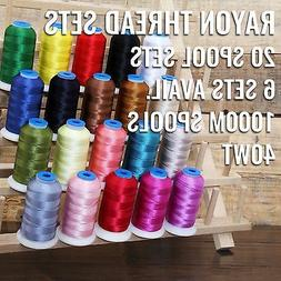 20 CONE RAYON MACHINE EMBROIDERY THREAD SETS - 6 SETS AVAIL