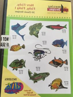 20 Fishing Embroidery Machine Designs CD Here Fishy Fishy 1