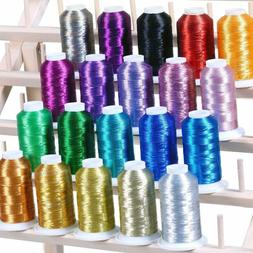 20 Metallic Embroidery Threads 1100 Yards For Computerized M