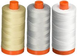3-PACK - Aurifil 50WT - White + Dove + Light Beige, Solid -