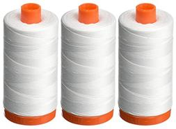 3-PACK - Aurifil 50WT - White, Solid - Mako Cotton Thread -