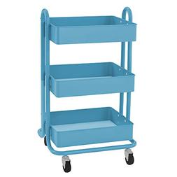 ECR4Kids 3-Tier Metal Rolling Utility Cart - Heavy Duty Mobi