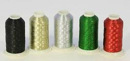 NEW ThreadNanny 5 CONES METALLIC MACHINE EMBROIDERY THREAD..