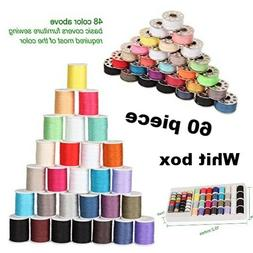 60 Piece Sewing Thread Heavy Duty Assortment For Machine Set