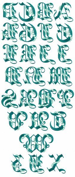 ABC Designs Seafoam Gothic Font Machine Embroidery Designs 5