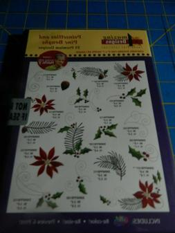 Amazing::Poinsettias & Pine  Boughs  Machine Embroidery Desi