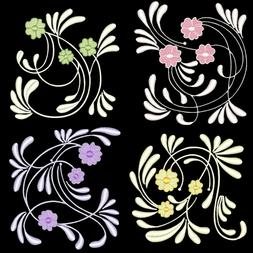 ART DECO FLOWERS - 4inch-12 Machine Embroidery Designs CD