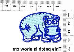 Baby Blue Hippo Animal Funny Cartoon Chidren Kids Embroidren