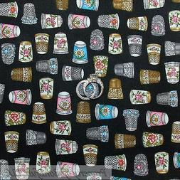 BonEful Fabric FQ Cotton Quilt Black Gold Silver Girl Sewing