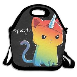GoldBaoWang Cat Unicorn Neoprene Lunch Picnic Bag Insulated
