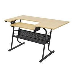 Studio Designs Eclipse Sewing and Craft Table, Black/Maple