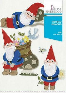 Anita Goodesign Embroidery Designs Garden Gnomes, New, Free
