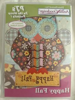 Anita Goodesign Embroidery Machine Design CD Happy Fall Owls