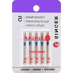 Singer EMBROIDERY Needles:  Size: 90/14 - 5 pack