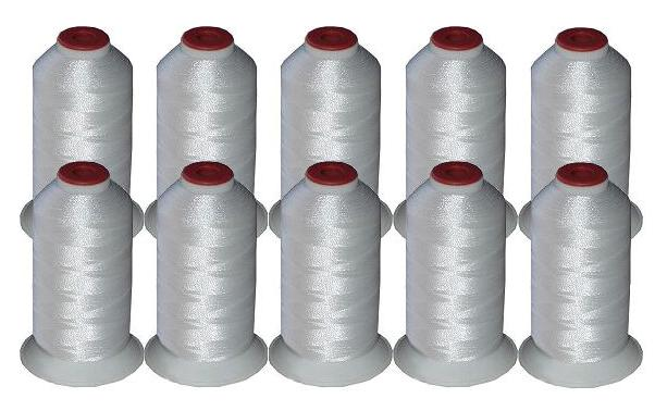 10 cones polyester machine embroidery thread white