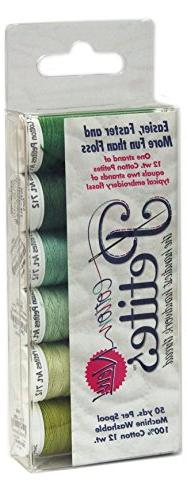 Sulky Sampler 12 Wt. Cotton Petites-Six Pack-Greens Assortme