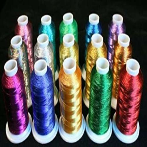 15 colors super shiny metallic thread cones