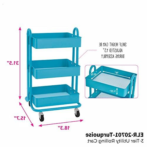 ECR4Kids 3-Tier Utility Duty Storage Turquoise