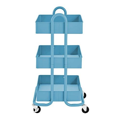 ECR4Kids 3-Tier Metal Utility Duty Storage Turquoise