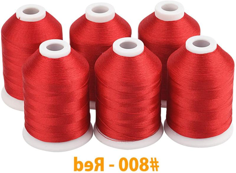 Simthread 6 Spools Red Machine for