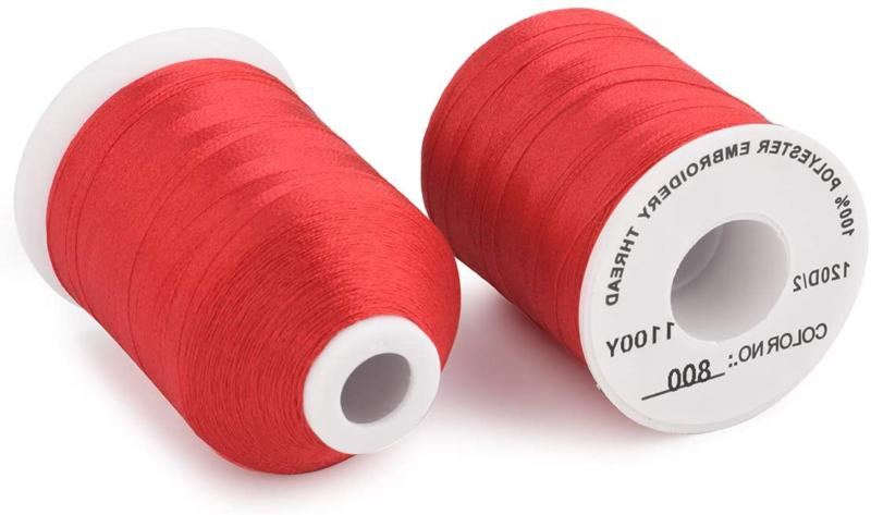 Simthread 6 Spools Red Machine Embroidery for