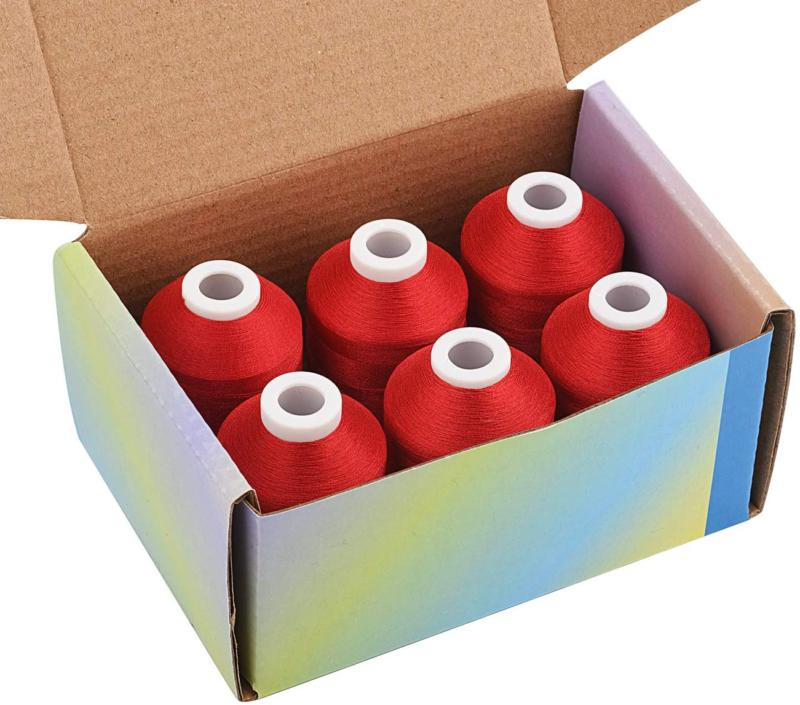 6 spools red machine embroidery thread 1000m