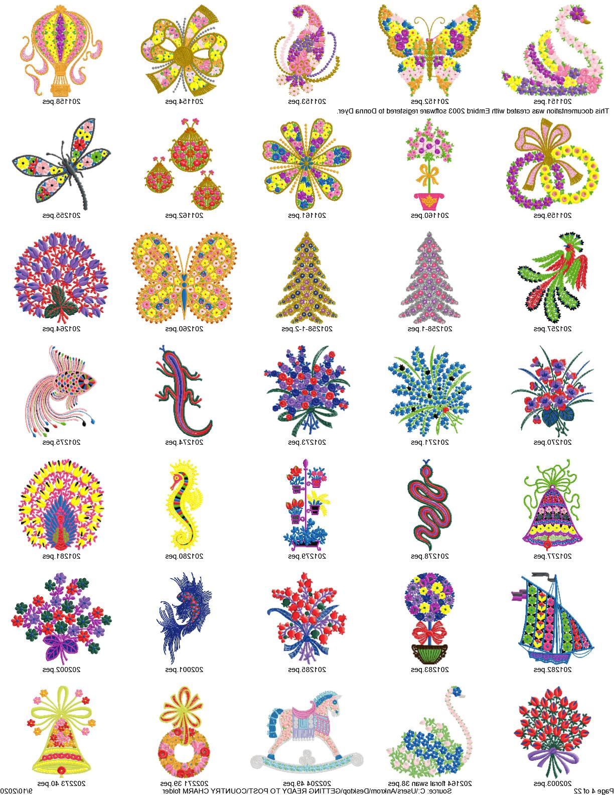 Collection of COUNTRY Embroidery PATTERNS