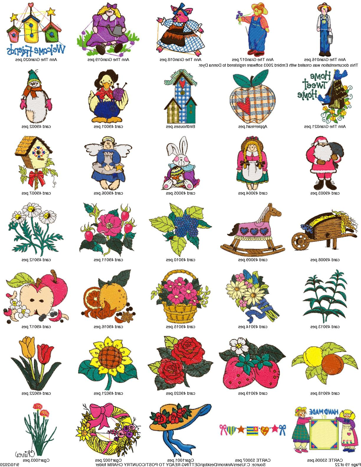 collection of over 700 country charm embroidery