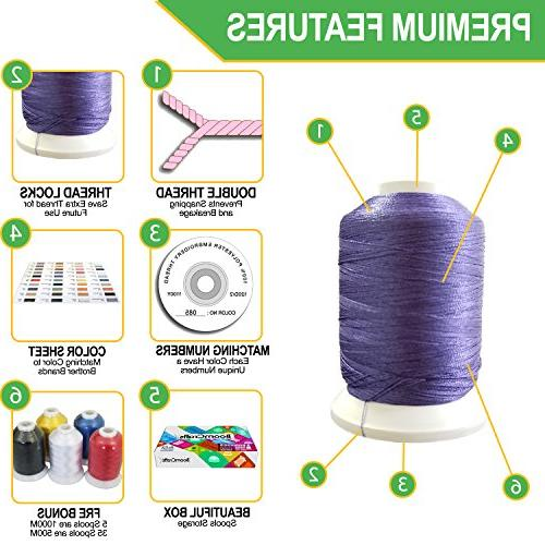 TAOindustry Embroidery Thread Spools 550 Yards per Compatible Brother Singer and Sewing Pieces