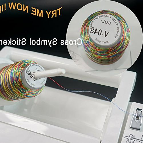 New 25 Colors Variegated Polyester Thread Spool Janome Brother Pfaff Singer Husqvaran and Machines