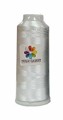 White Embroidery Machine Bobbin Thread - Huge 5500yards Cone