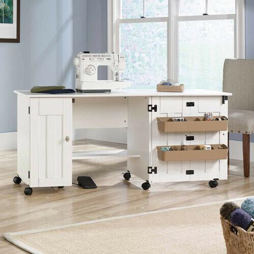 White Sauder Sewing Machine Craft Storage Bin