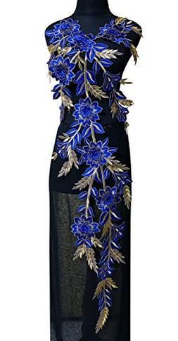 Lace Neckline Trim Applique Embroidery Patch Motif Embellish