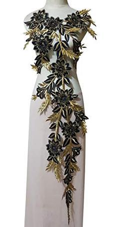 WUBU Lace Neckline Trim Applique Embroidery Patch Motif Embe