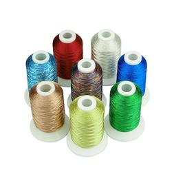 SIMTHREAD Metallic Embroidery Machine Thread 8 Colors for Ch