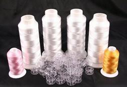 New 4 XL Cones Machine Embroidery Bobbin Thread and 50 Bobbi