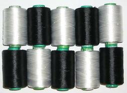 NEW BLACK & WHITE RAYON Embroidery Thread THREADS FOR Brothe