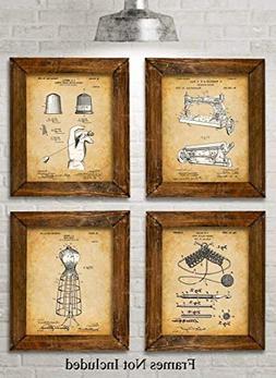 Original Sewing Patent Art Prints - Set of Four Photos  Unfr