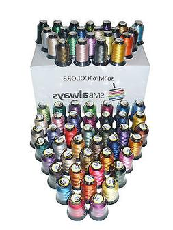 Polyester Embroidery Machine Thread Set - 500m each, 63 spoo