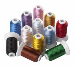 Sinbel Polyester Embroidery Thread 12 Colors 550 Yards Per S