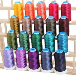 POLYESTER MACHINE EMBROIDERY THREAD SET 20 DARK COLORS - 100