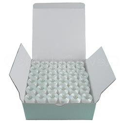 144 Pack - CleverDelights Size A White Prewound Bobbins - 60
