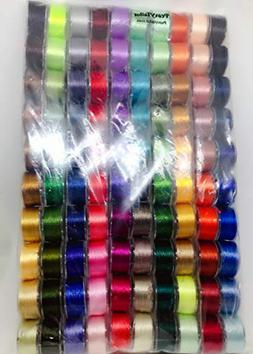 20 Color Prewound Embroidery Thread Bobbins with 4 Bobbin Ho
